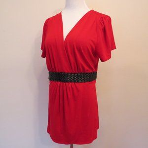 Women's red plus size 2X tunic short sleeve